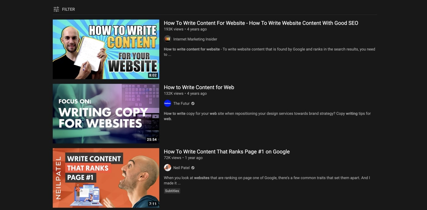 video ranking above neil patel's video